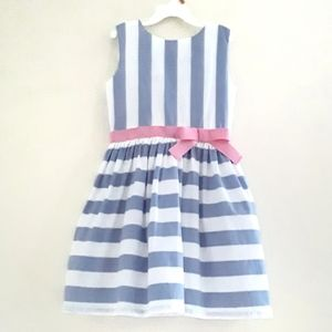 Carter's Blue Striped Dress with Pink Bow 7 Girls